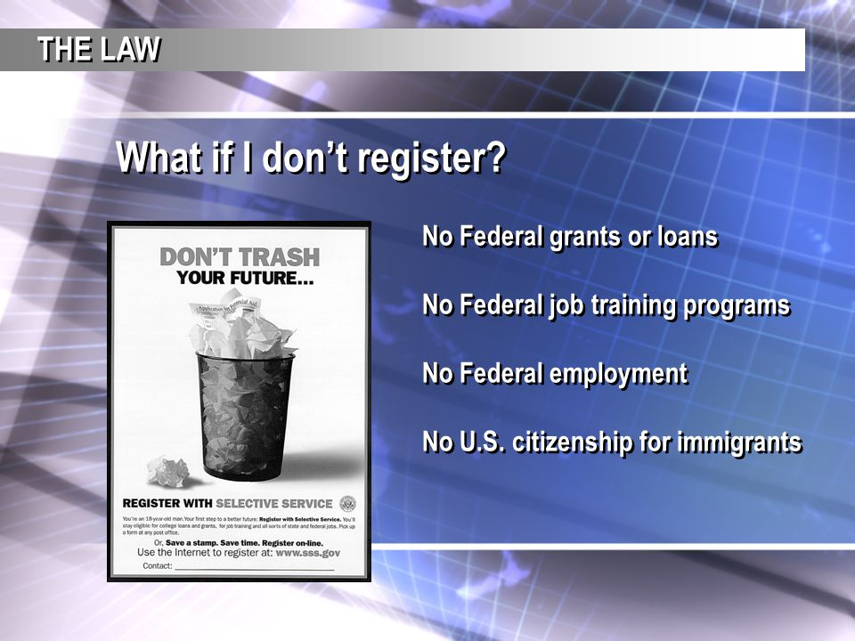 No Federal grants or loans No Federal job training programs No Federal employment No U.S. citizenship for immigrants No Federal grants or loans No Fed