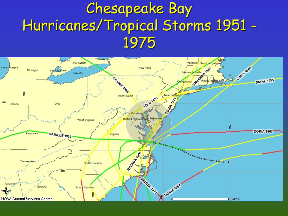 Chesapeake Bay Hurricanes/Tropical Storms 1951 - 1975