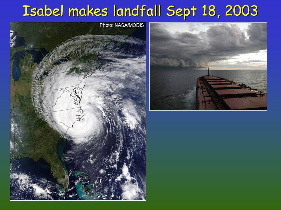 Isabel makes landfall Sept 18, 2003 Photo: NASA/MODIS