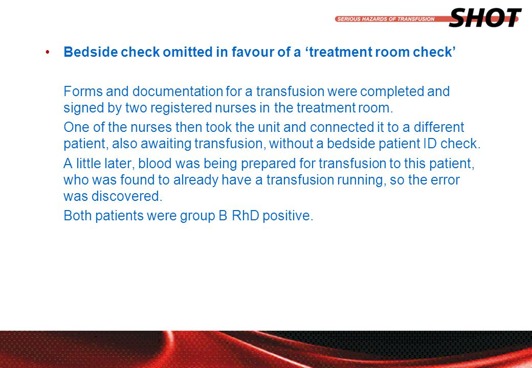 insert your department, conference or presentation title Bedside check omitted in favour of a 'treatment room check' Forms and documentation for a transfusion were completed and signed by two registered nurses in the treatment room.
