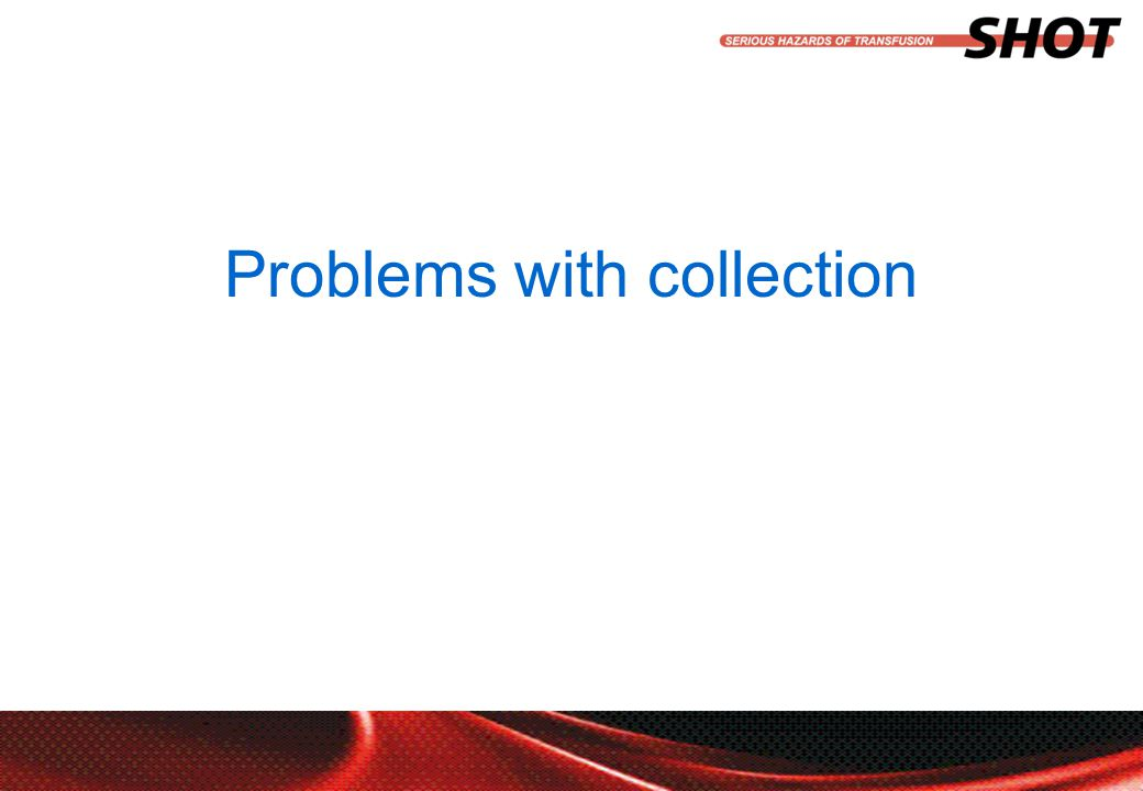 insert your department, conference or presentation title Problems with collection