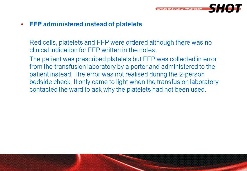 insert your department, conference or presentation title FFP administered instead of platelets Red cells, platelets and FFP were ordered although there was no clinical indication for FFP written in the notes.