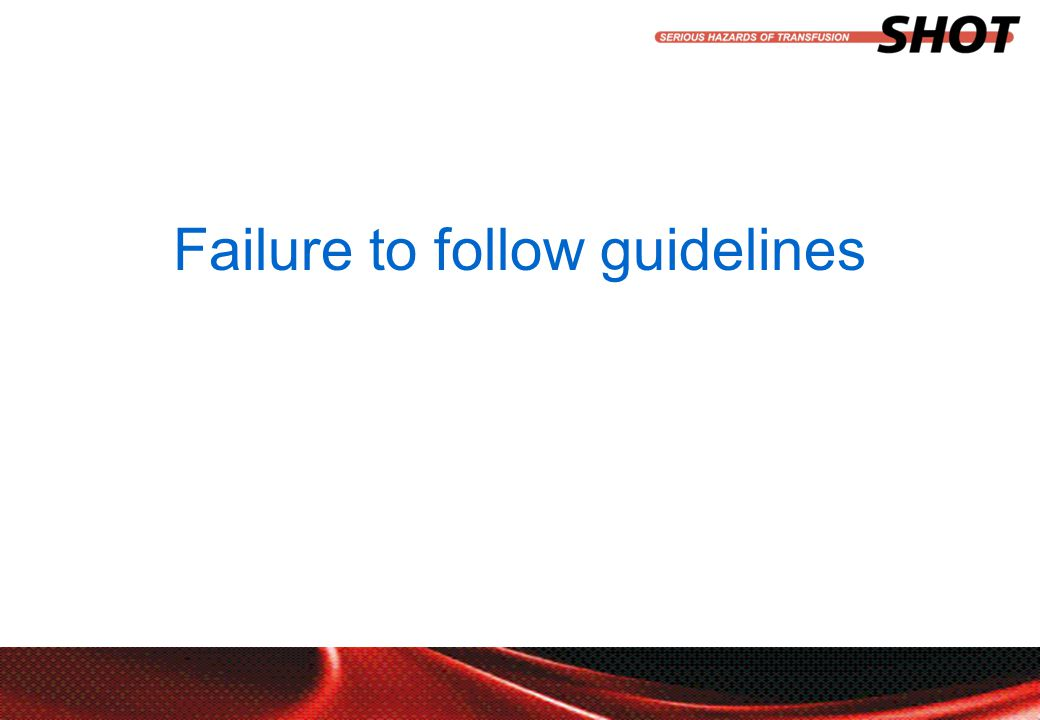 insert your department, conference or presentation title Failure to follow guidelines