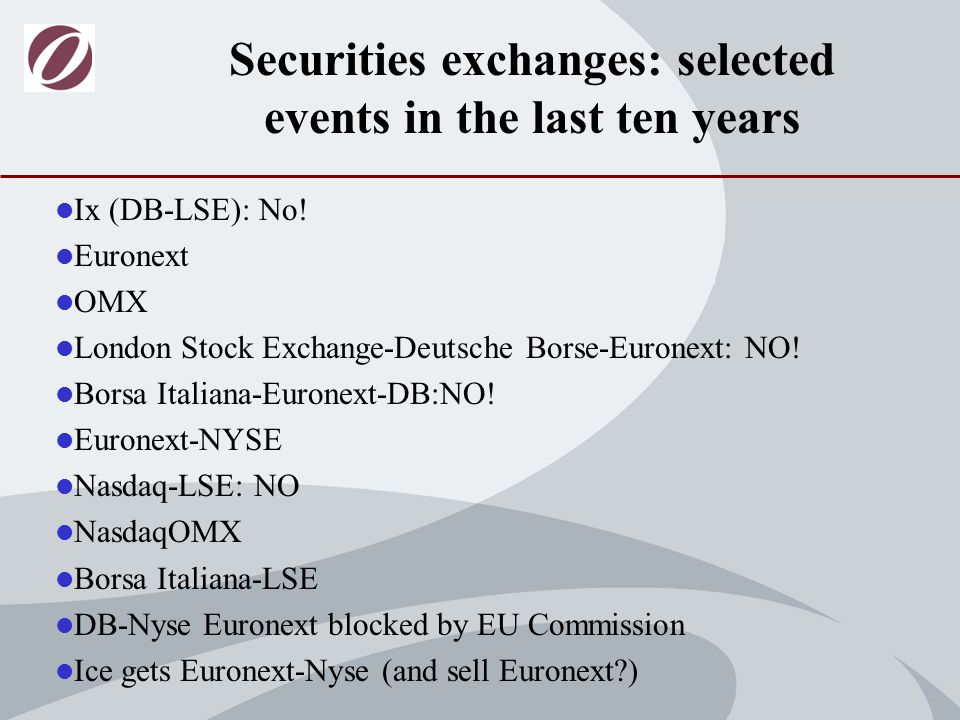 Ix (DB-LSE): No. Euronext OMX London Stock Exchange-Deutsche Borse-Euronext: NO.