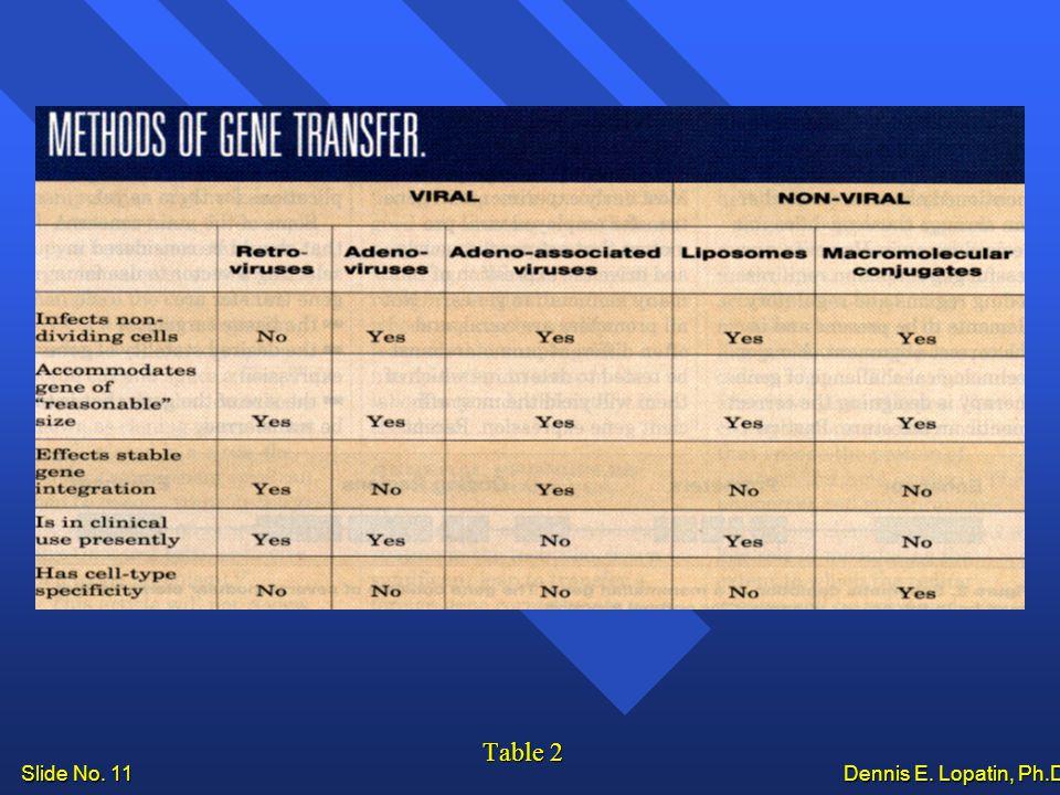 Slide No. 11 Dennis E. Lopatin, Ph.D.. Table 2