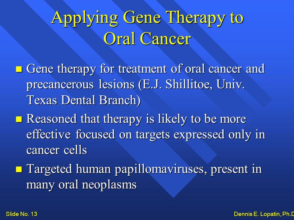 Slide No. 13 Dennis E. Lopatin, Ph.D..