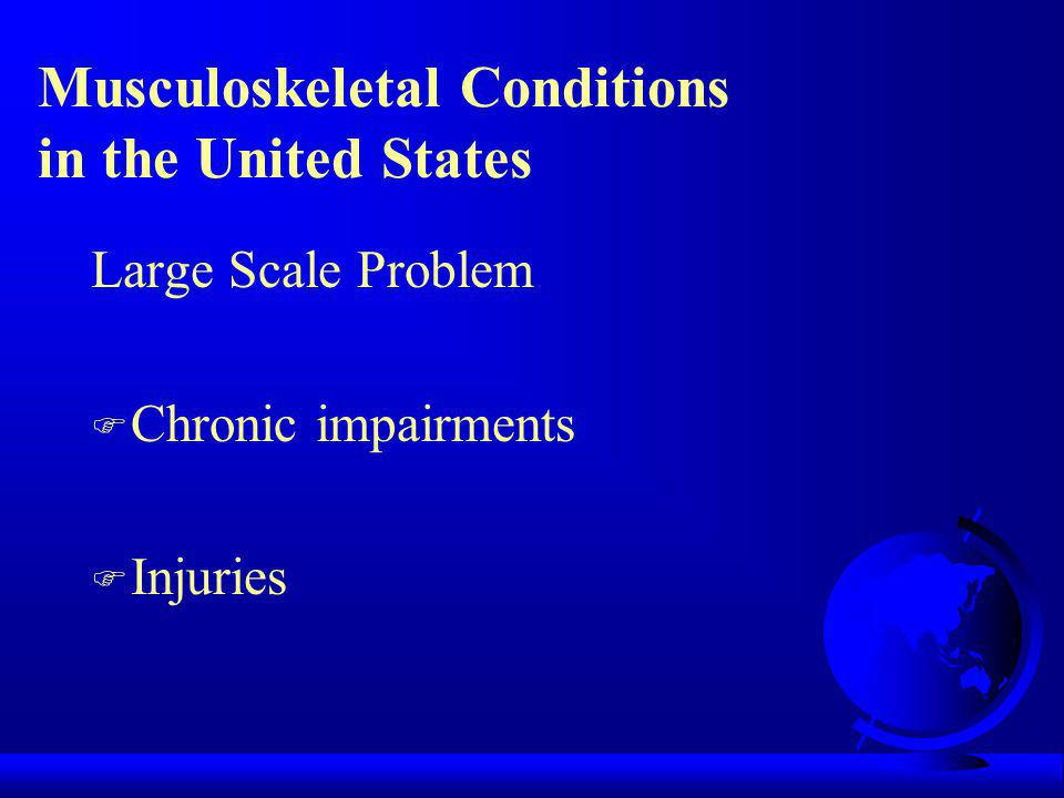 Musculoskeletal Conditions in the United States Large Scale Problem F Chronic impairments F Injuries