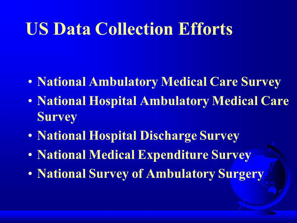 US Data Collection Efforts National Ambulatory Medical Care Survey National Hospital Ambulatory Medical Care Survey National Hospital Discharge Survey National Medical Expenditure Survey National Survey of Ambulatory Surgery