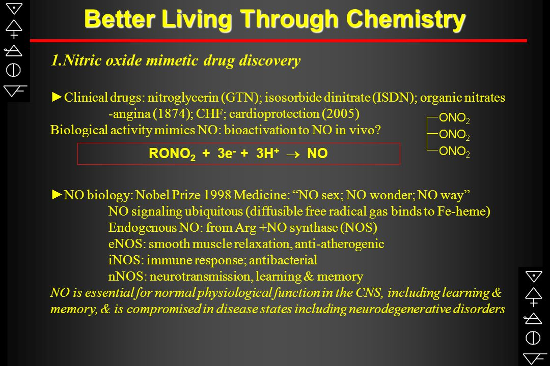 Better Living Through Chemistry 1.Nitric oxide mimetic drug discovery ►Clinical drugs: nitroglycerin (GTN); isosorbide dinitrate (ISDN); organic nitrates -angina (1874); CHF; cardioprotection (2005) Biological activity mimics NO: bioactivation to NO in vivo.