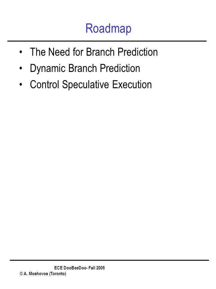 ECE DooBeeDoo- Fall 2005 © A. Moshovos (Toronto) Roadmap The Need for Branch Prediction Dynamic Branch Prediction Control Speculative Execution