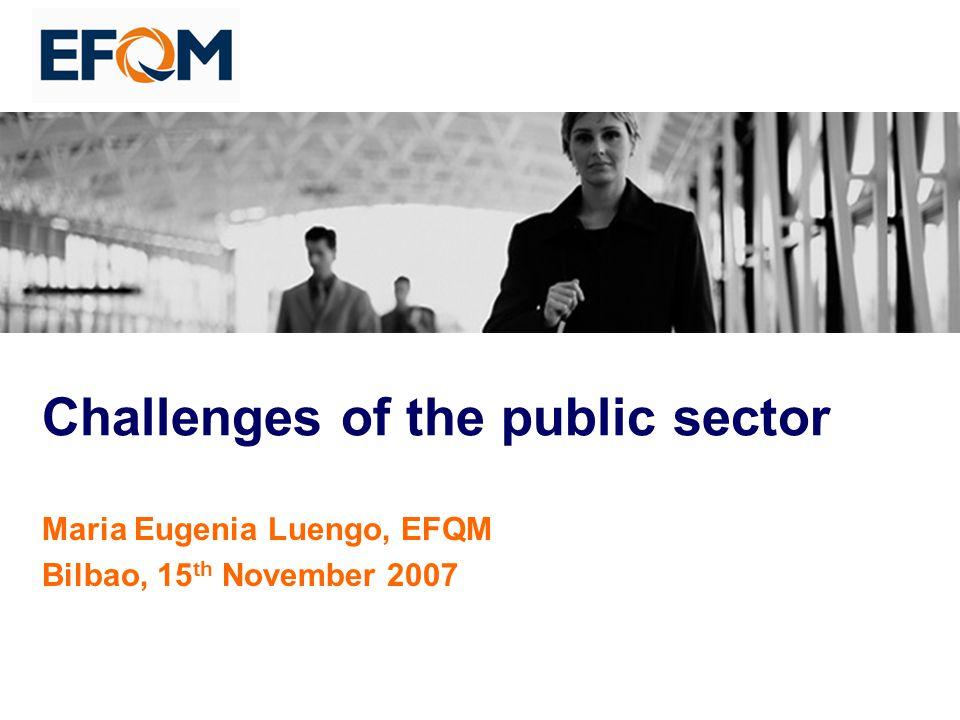 Challenges of the public sector Maria Eugenia Luengo, EFQM Bilbao, 15 th November 2007