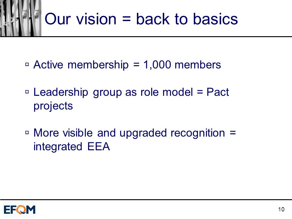 10 Our vision = back to basics  Active membership = 1,000 members  Leadership group as role model = Pact projects  More visible and upgraded recognition = integrated EEA