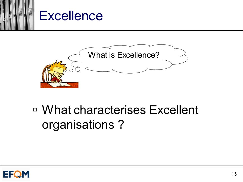 13 Excellence  What characterises Excellent organisations What is Excellence