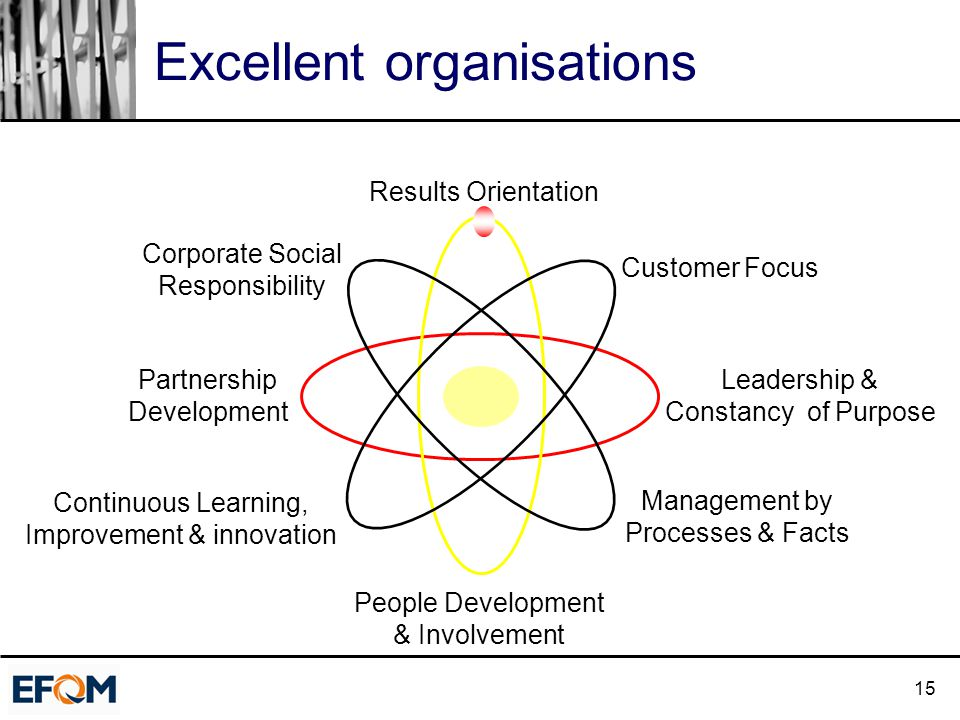 15 Excellent organisations Results Orientation Customer Focus Leadership & Constancy of Purpose Management by Processes & Facts People Development & Involvement Continuous Learning, Improvement & innovation Partnership Development Corporate Social Responsibility