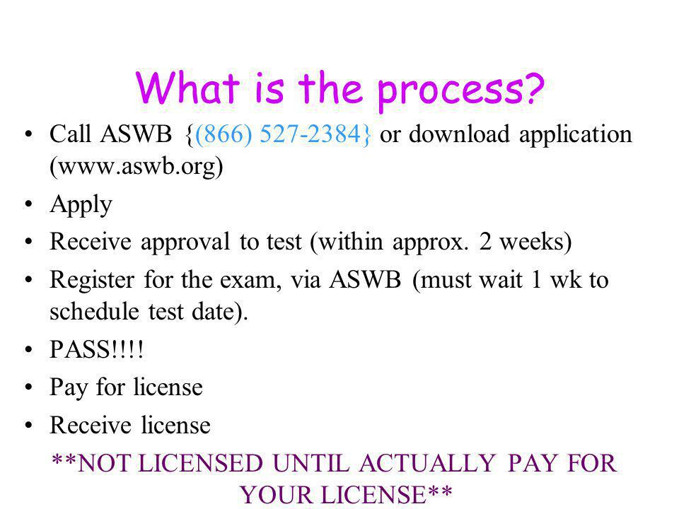 What is the process? Call ASWB {(866) 527-2384} or download application (www.aswb.org) Apply Receive approval to test (within approx. 2 weeks) Registe