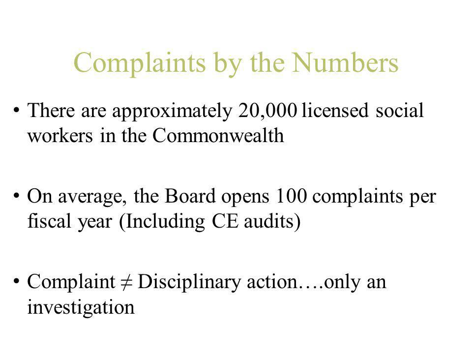 Complaints by the Numbers There are approximately 20,000 licensed social workers in the Commonwealth On average, the Board opens 100 complaints per fi
