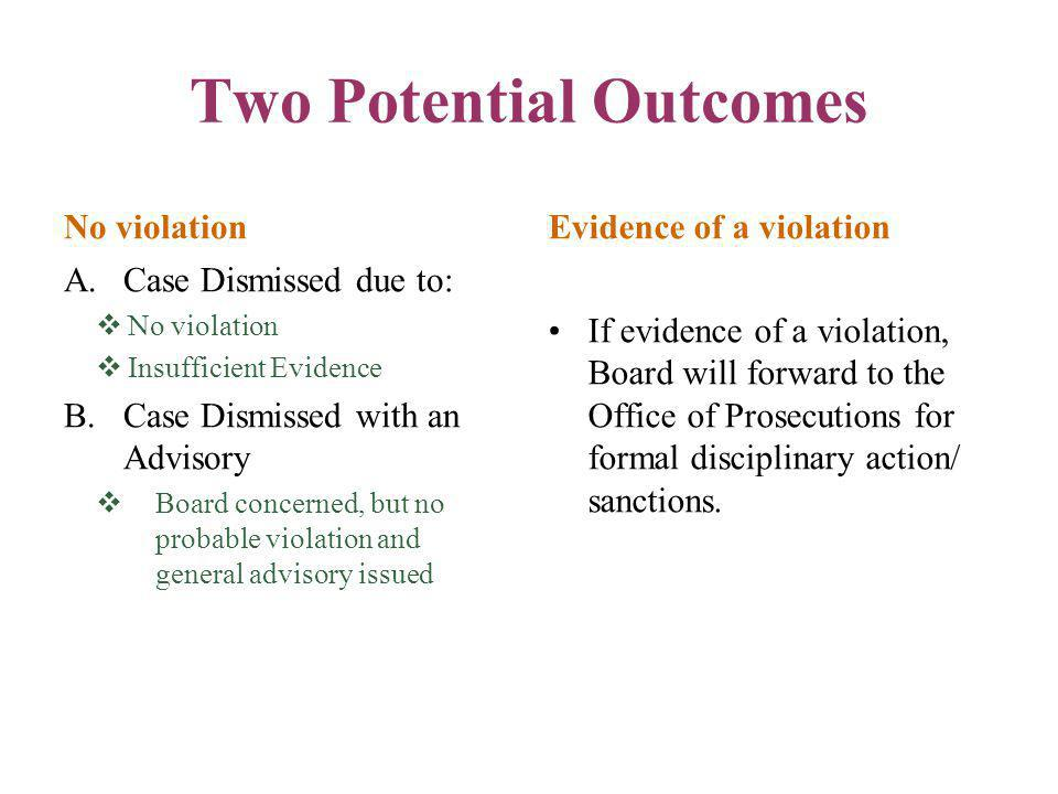 Two Potential Outcomes No violation A.Case Dismissed due to:  No violation  Insufficient Evidence B.Case Dismissed with an Advisory  Board concerne