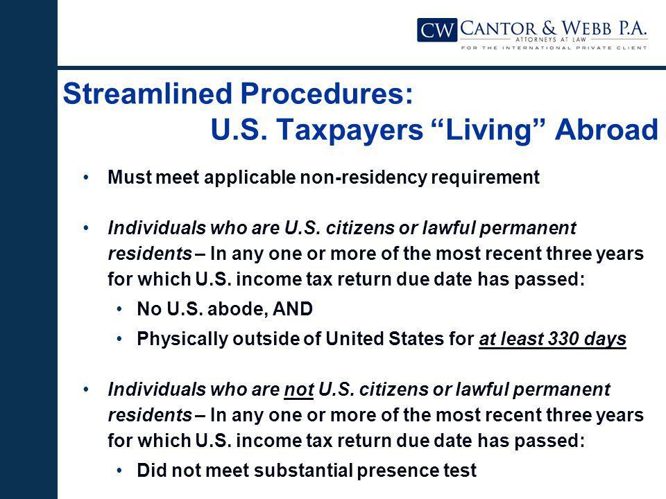 Streamlined Procedures: U.S.
