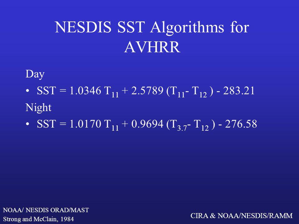 CIRA & NOAA/NESDIS/RAMM NESDIS SST Algorithms for AVHRR Day SST = 1.0346 T 11 + 2.5789 (T 11 - T 12 ) - 283.21 Night SST = 1.0170 T 11 + 0.9694 (T 3.7 - T 12 ) - 276.58 Strong and McClain, 1984 NOAA/ NESDIS ORAD/MAST
