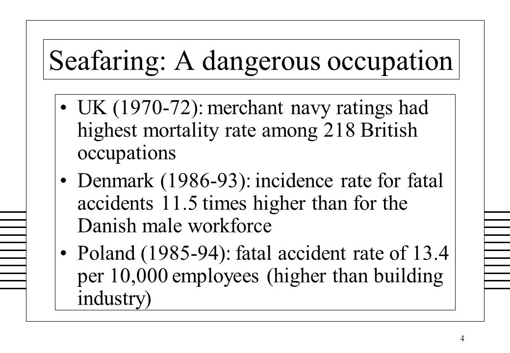 25 Results of Singapore study occupational accidents were not investigated by the flag state several casualties involving total loss of the ship were not investigated by the flag state