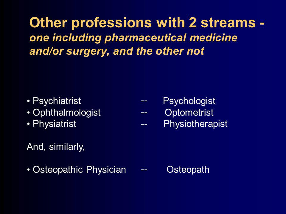 Other professions with 2 streams - one including pharmaceutical medicine and/or surgery, and the other not Psychiatrist Psychologist Ophthalmologist Optometrist Physiatrist Physiotherapist And, similarly, Osteopathic Physician Osteopath --