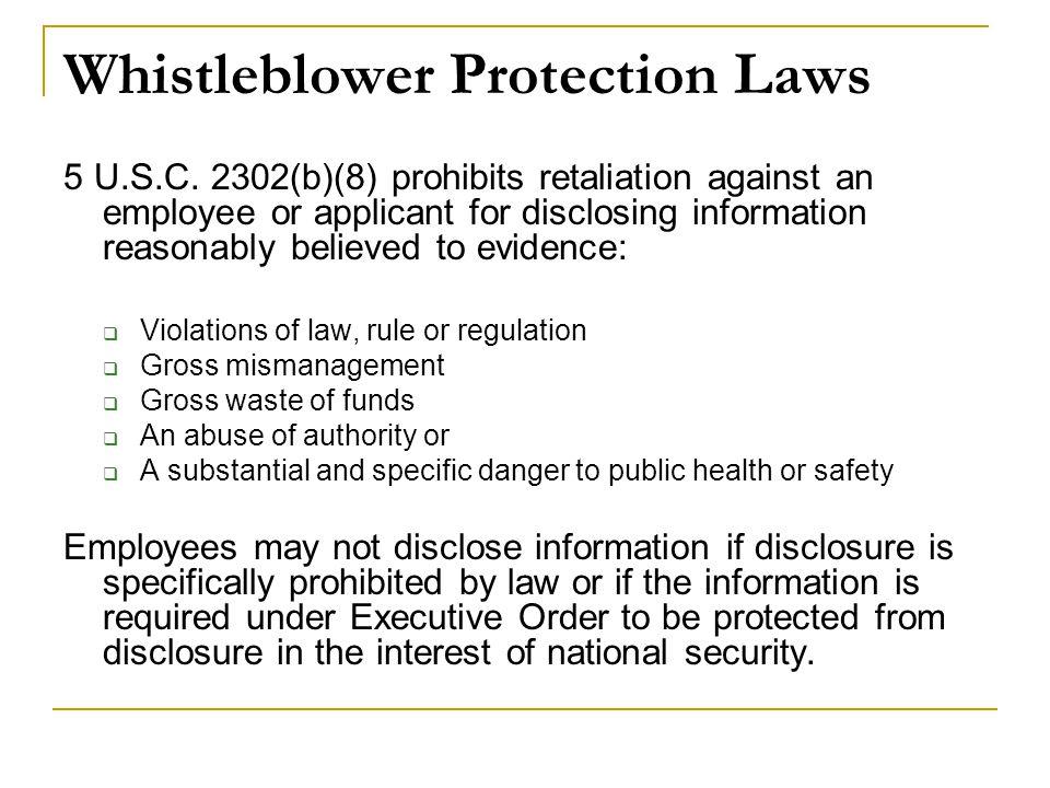 Whistleblower Protection Laws 5 U.S.C.