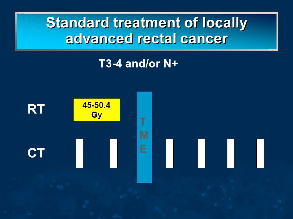 Standard treatment of locally advanced rectal cancer TMETME 45-50.4 Gy CT RT T3-4 and/or N+