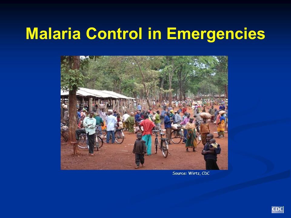 Factors Associated with Increased Risk of Malaria No or poor housing No or poor housing Location of camps/settlements often not planned well Location of camps/settlements often not planned well Placing camp in well known flood plain (e.g., TZ) Placing camp in well known flood plain (e.g., TZ) Deliberate movement to areas near water Deliberate movement to areas near water Overcrowding Overcrowding Proximity of livestock Proximity of livestock Mobility: may have limited contact with health facilities Mobility: may have limited contact with health facilities Compromised immune status Compromised immune status