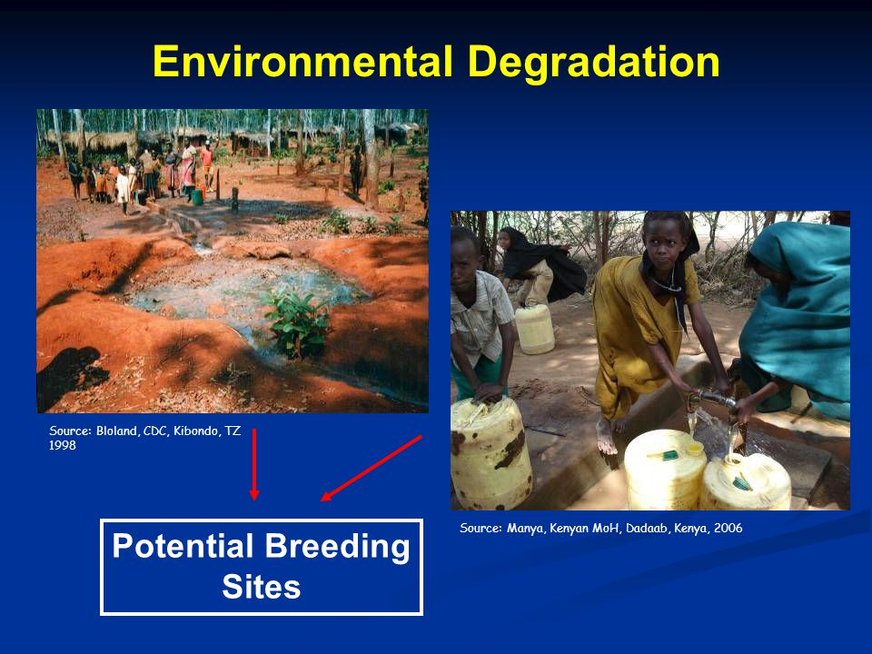 Potential Breeding Sites Source: Bloland, CDC, Kibondo, TZ 1998 Source: Manya, Kenyan MoH, Dadaab, Kenya, 2006 Environmental Degradation