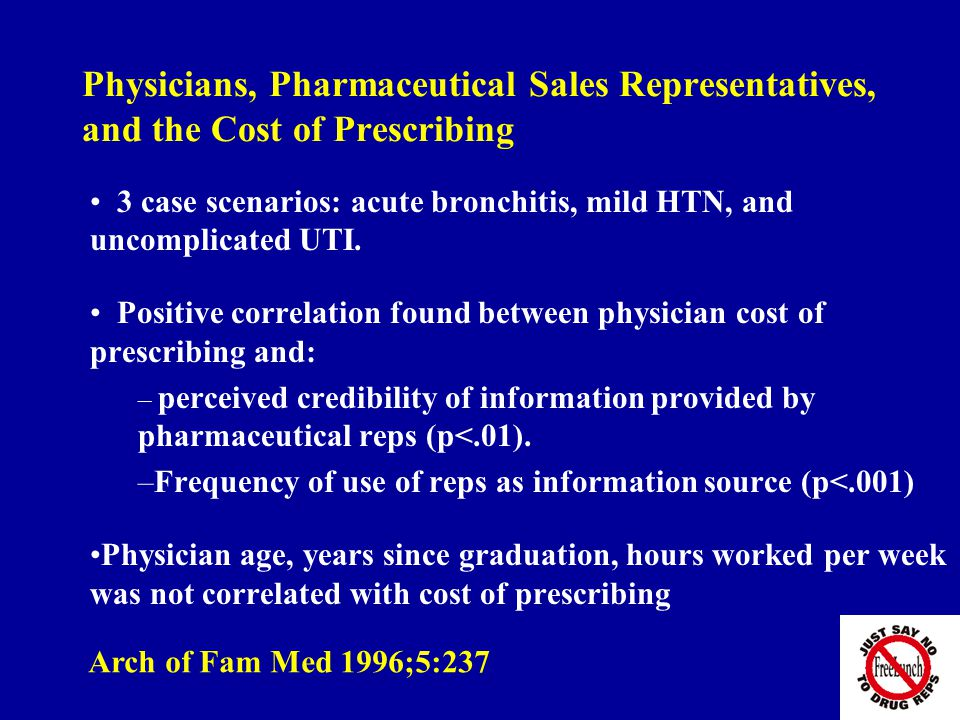 Physicians, Pharmaceutical Sales Representatives, and the Cost of Prescribing 3 case scenarios: acute bronchitis, mild HTN, and uncomplicated UTI.