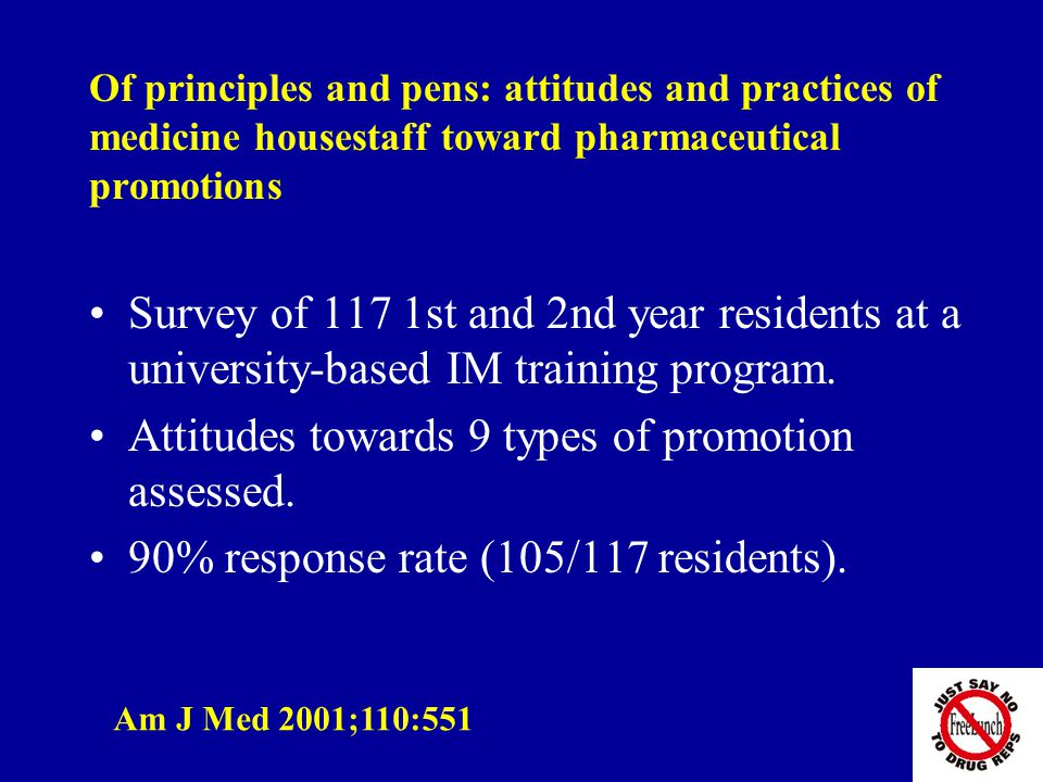 Of principles and pens: attitudes and practices of medicine housestaff toward pharmaceutical promotions Survey of 117 1st and 2nd year residents at a university-based IM training program.
