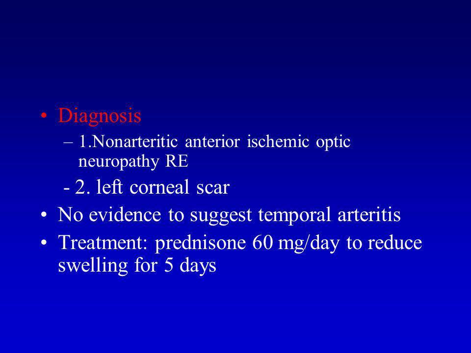 Diagnosis –1.Nonarteritic anterior ischemic optic neuropathy RE - 2.