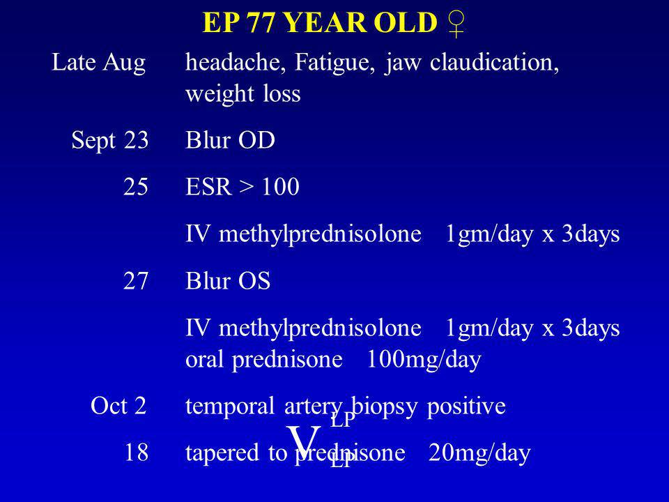 EP 77 YEAR OLD ♀ Late Augheadache, Fatigue, jaw claudication, weight loss Sept 23Blur OD 25ESR > 100 IV methylprednisolone 1gm/day x 3days 27Blur OS IV methylprednisolone 1gm/day x 3days oral prednisone 100mg/day Oct 2temporal artery biopsy positive 18tapered to prednisone 20mg/day V LP