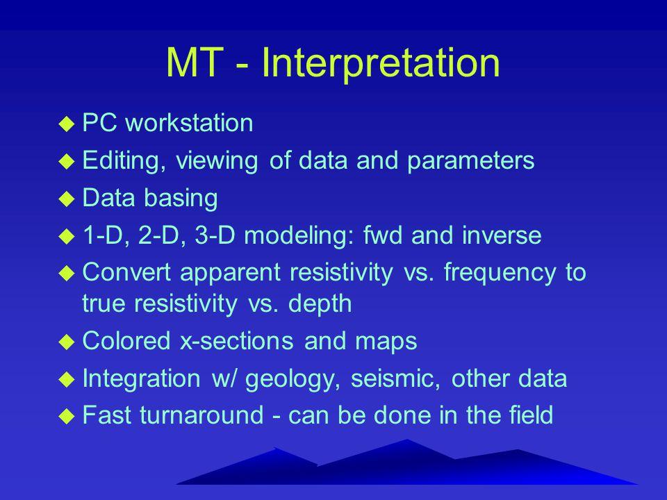 MT - Interpretation u PC workstation u Editing, viewing of data and parameters u Data basing u 1-D, 2-D, 3-D modeling: fwd and inverse u Convert apparent resistivity vs.