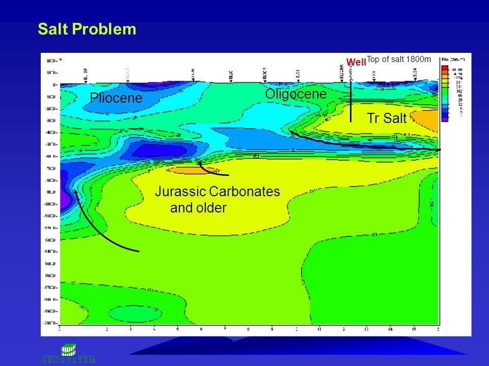 Salt Problem Tr Salt Oligocene Pliocene Jurassic Carbonates and older Well Top of salt 1800m
