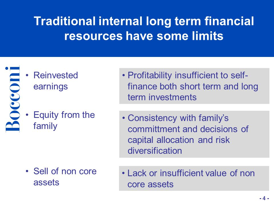 - 4 - Traditional internal long term financial resources have some limits Reinvested earnings Profitability insufficient to self- finance both short term and long term investments Equity from the family Consistency with family's committment and decisions of capital allocation and risk diversification Sell of non core assets Lack or insufficient value of non core assets