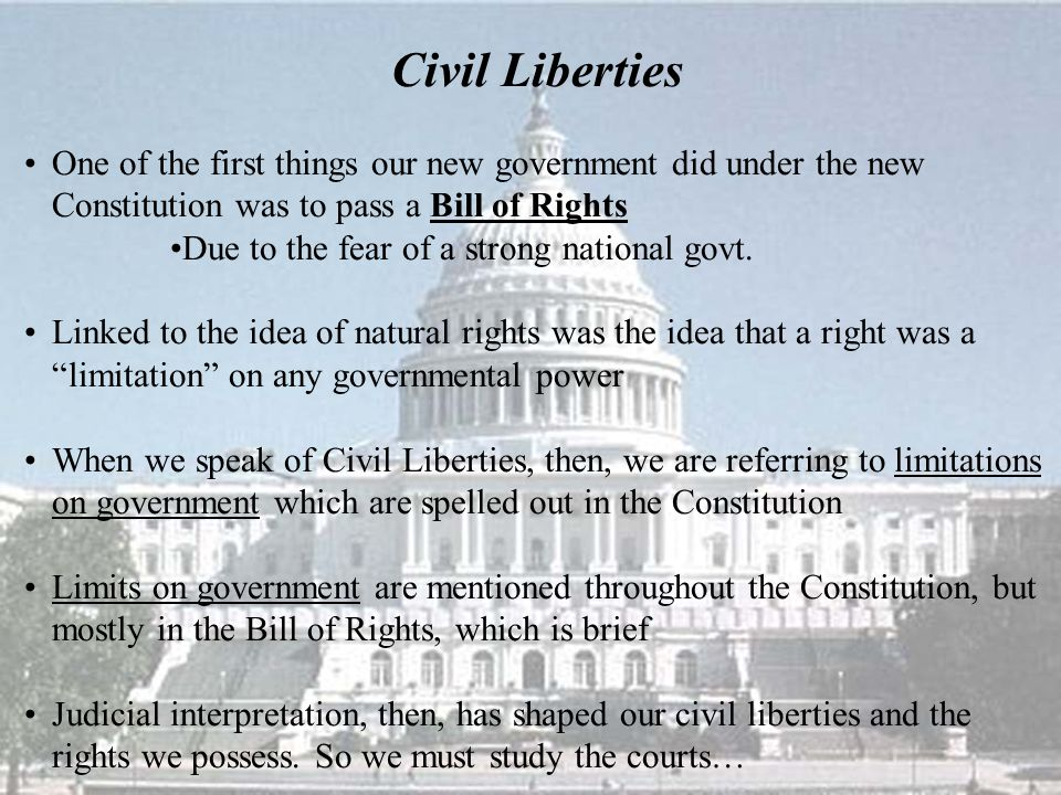 One of the first things our new government did under the new Constitution was to pass a Bill of Rights Due to the fear of a strong national govt.