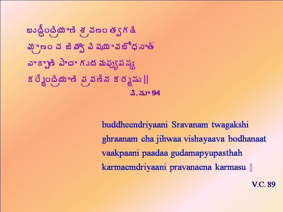 £ÅžÄãÏžÃë¦Á ݈ ªÁë©Á›Ï œÁíÁ¯Ã Á Âë›Ï úÁ üÃöÁí ©Ã«Á¦Á ©Á£ÍŸÁþÂœ÷ ©ÂÂå›Ã ±ÂžÂ ÁÅžÁ¥Á¡Áôê¡Á¬ÁÐá Á§ÊéÏžÃë¦Á ݈ ¡Áë©Á›ÊþÁ Á§Áé¬ÁÅ || ©Ã.úÁÆ 94 buddheendriyaani Sravanam twagakshi ghraanam cha jihwaa vishayaava bodhanaat vaakpaani paadaa gudamapyupasthah karmaemdriyaani pravanaena karmasu || V.C.