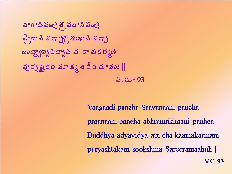 ©ÂÂžÃ¡Á–Ö ªÁë©Á›ÂþáÁ–Ö ±Âë›Âþà ¡Á–ÂÖ¤Áë¥ÁÅŽÂþà ¡Á–Ö £ÅžÂãêžÁê©ÃžÂê¡Ã úÁ Â¥ÁÁ§Áé›Ã ¡Áô§Áê«ÁۍÁÏ ¬ÁƯÁé ªÁ§Ä§Á¥Á ÂÿÁÅÐ || ©Ã.úÁÆ 93 Vaagaadi pancha Sravanaani pancha praanaani pancha abhramukhaani panhca Buddhya adyavidya api cha kaamakarmani puryashtakam sookshma Sareeramaahuh || V.C.