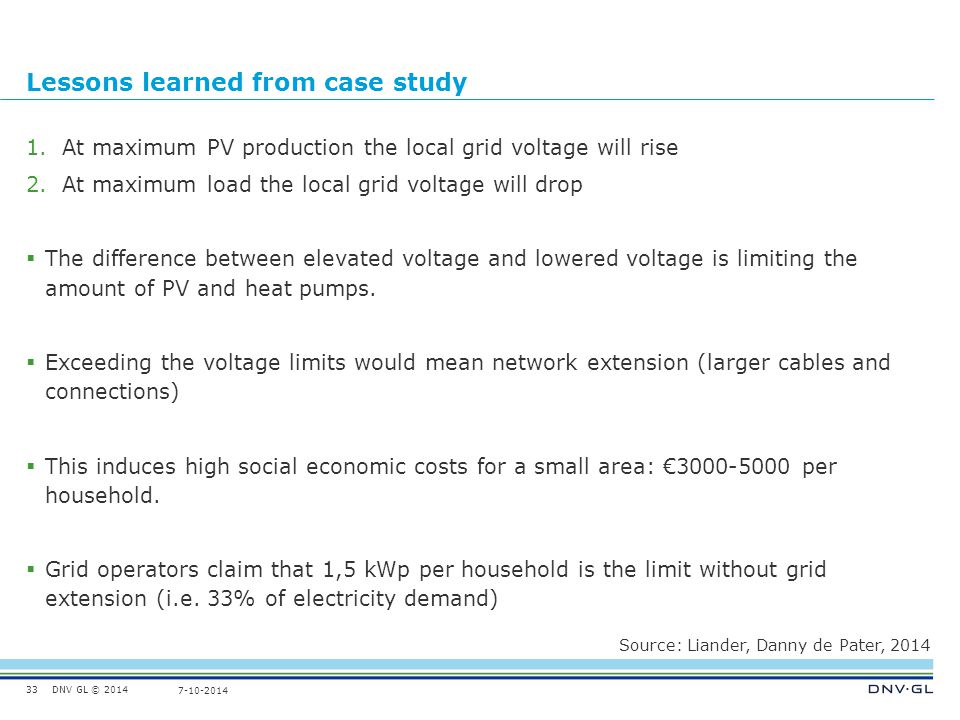 DNV GL © 2014 7-10-2014 Lessons learned from case study 1.At maximum PV production the local grid voltage will rise 2.At maximum load the local grid voltage will drop  The difference between elevated voltage and lowered voltage is limiting the amount of PV and heat pumps.