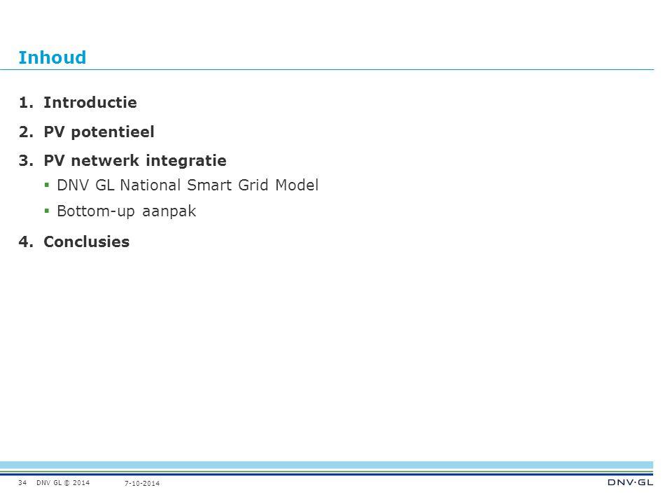 DNV GL © 2014 7-10-2014 Inhoud 34 1.Introductie 2.PV potentieel 3.PV netwerk integratie  DNV GL National Smart Grid Model  Bottom-up aanpak 4.Conclusies