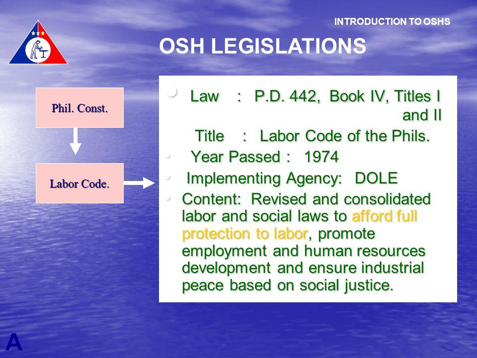 Law : P.D. 442, Book IV, Titles I and II Law : P.D. 442, Book IV, Titles I and II Title : Labor Code of the Phils. Title : Labor Code of the Phils. Ye