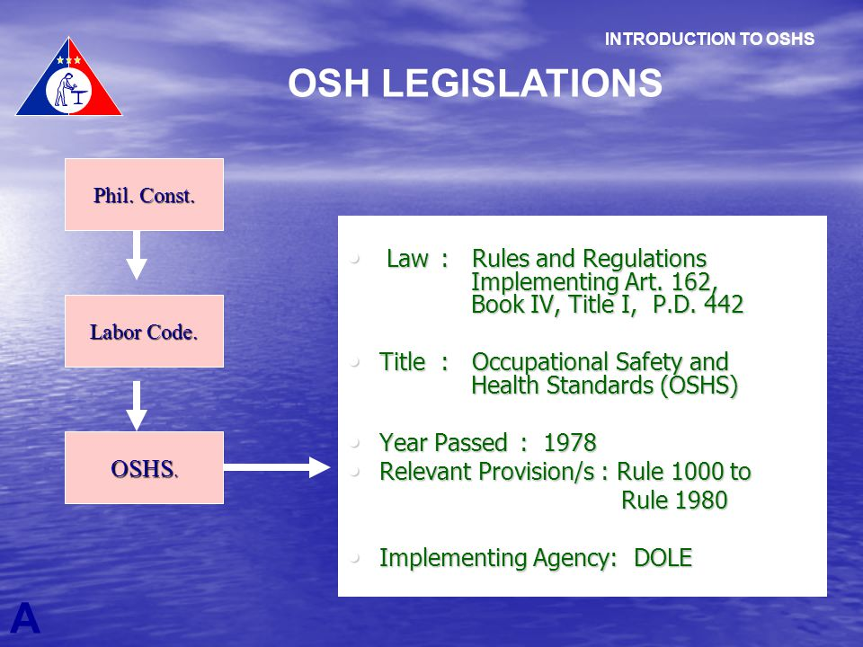 A OSH LEGISLATIONS INTRODUCTION TO OSHS Phil. Const. Labor Code. OSHS. Law : Rules and Regulations Implementing Art. 162, Book IV, Title I, P.D. 442 L