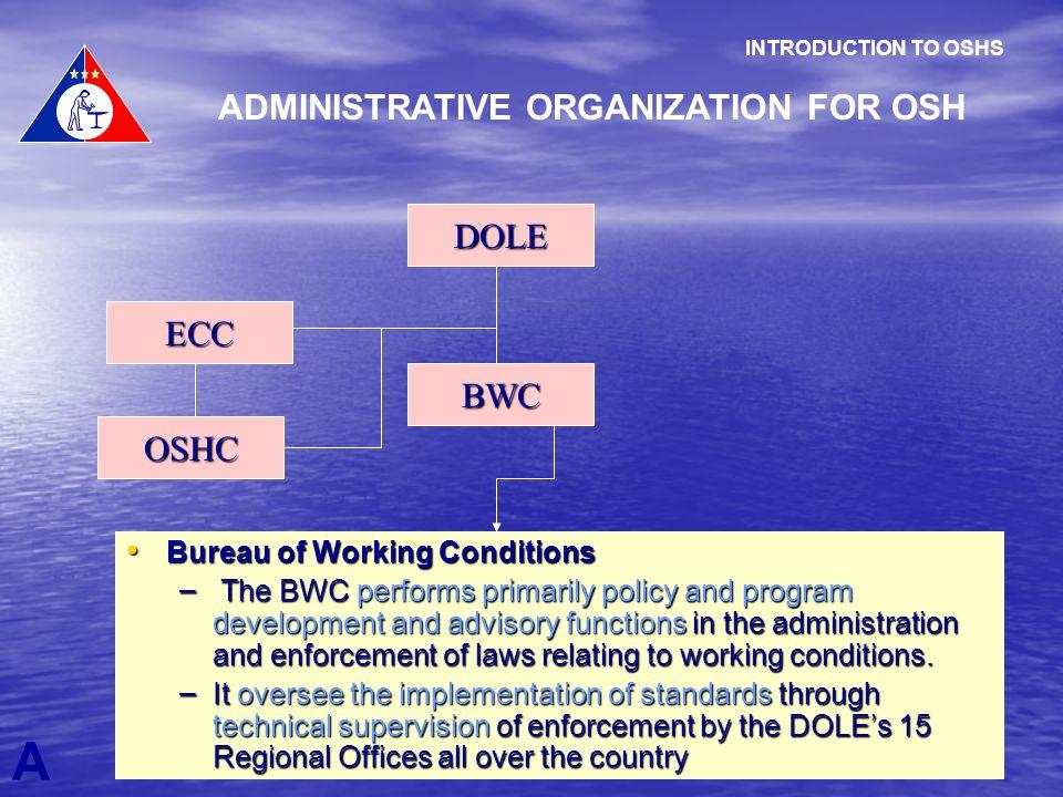 A INTRODUCTION TO OSHS ADMINISTRATIVE ORGANIZATION FOR OSH DOLE OSHC ECC BWC Bureau of Working Conditions Bureau of Working Conditions – The BWC perfo