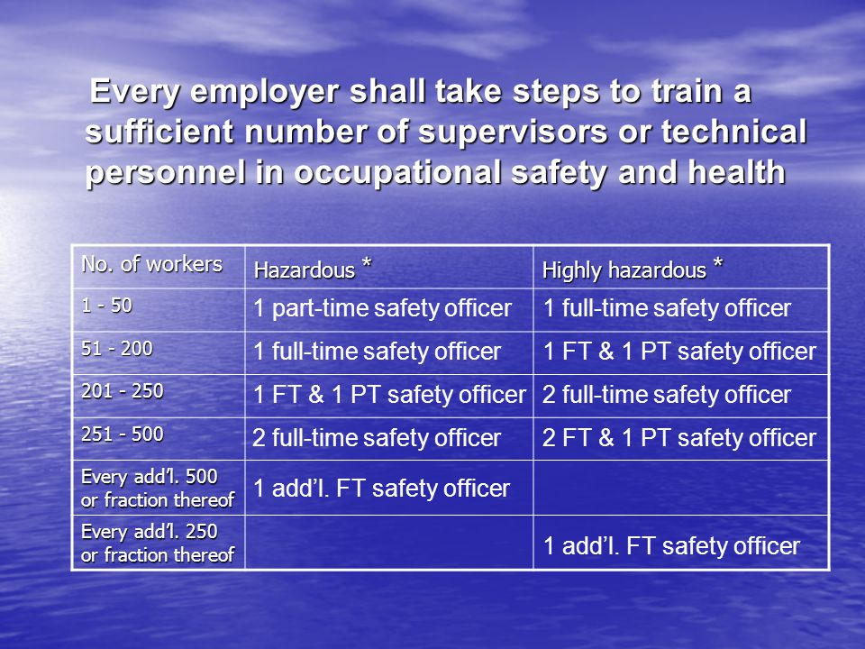 Every employer shall take steps to train a sufficient number of supervisors or technical personnel in occupational safety and health Every employer sh