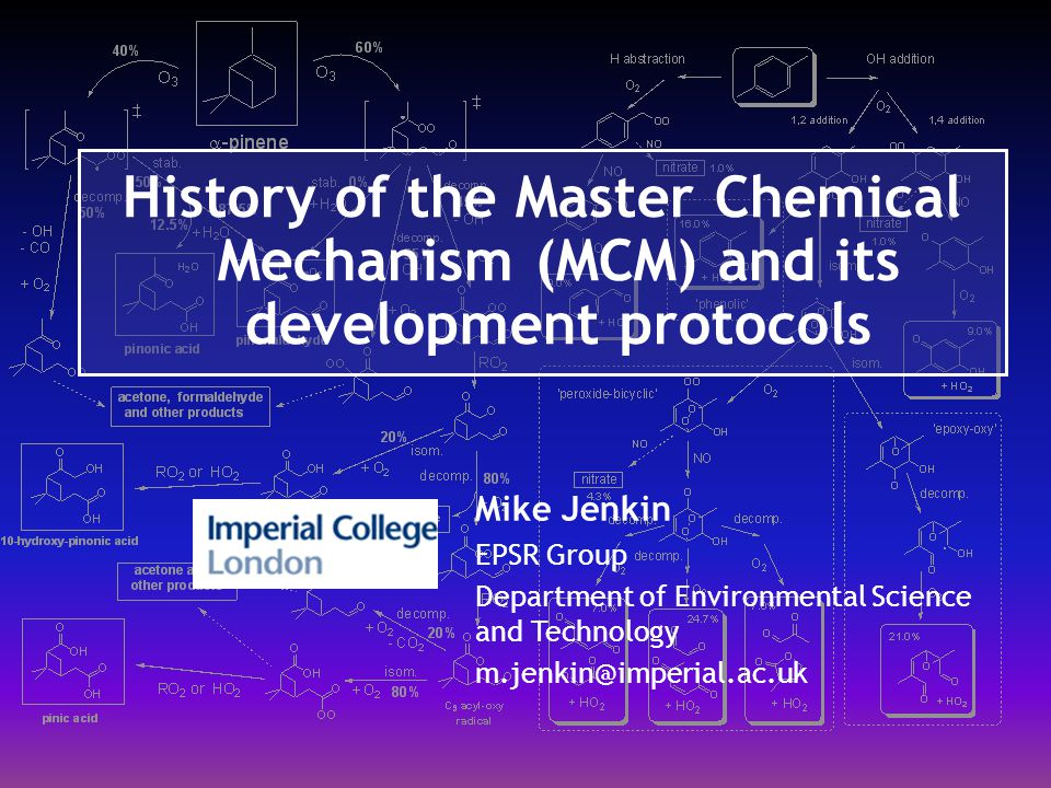 1993 – the birth of the MCM University of Leeds  Sam Saunders, Mike Pilling AEA Technology  Mike Jenkin, Colin Johnson UK Meteorological Office  Dick Derwent Work commissioned by the Department of the Environment, DoE (Air Quality Division), to improve the treatment of organic chemistry in ozone policy models