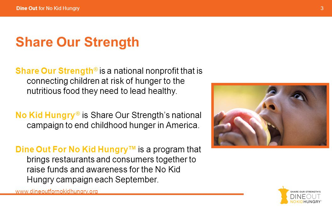 3 Dine Out for No Kid Hungry Share Our Strength Share Our Strength ® is a national nonprofit that is connecting children at risk of hunger to the nutritious food they need to lead healthy.