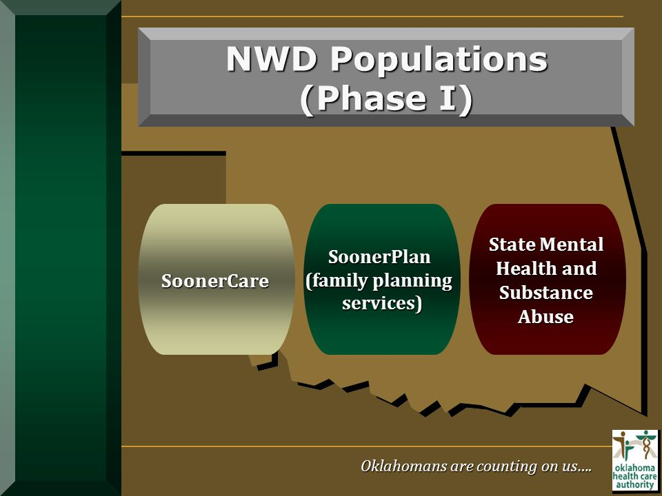 Targets Low-Income Uninsured Adults Dedicated Funding Source NWD Populations (Phase I) SoonerCare SoonerCare SoonerPlan SoonerPlan (family planning (f