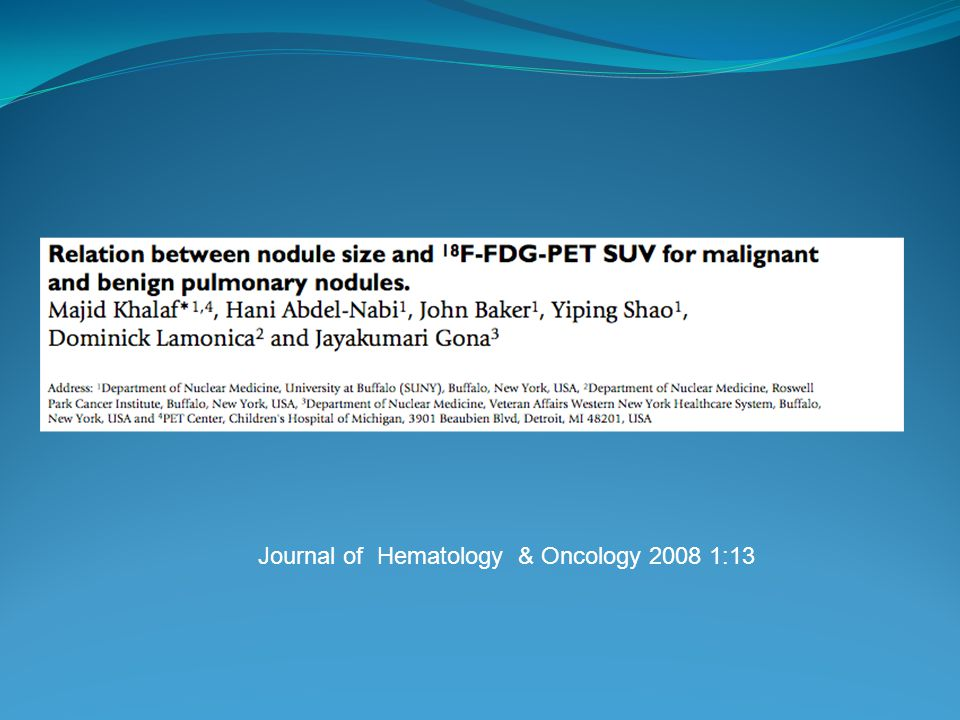 Journal of Hematology & Oncology 2008 1:13