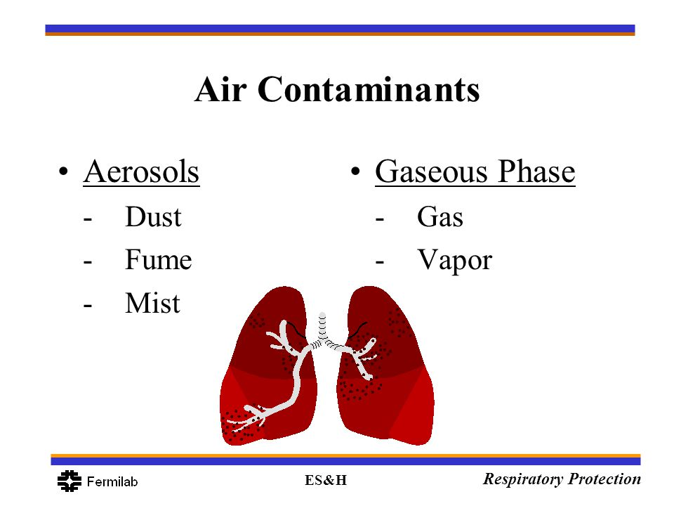 ES&H Respiratory Protection Air Contaminants Aerosols -Dust -Fume -Mist Gaseous Phase -Gas -Vapor